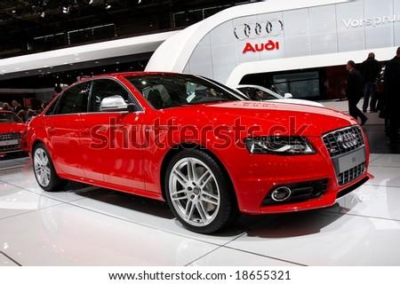 PARIS, FRANCE - OCTOBER 02: Paris Motor Show on October 02, 2008, showing Audi S4, front view - stock photo