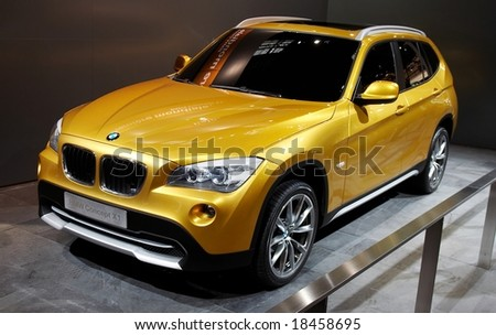 PARIS, FRANCE - OCTOBER 02: Paris Motor Show on October 02, 2008, showing BMW Concept X1, front view - stock photo