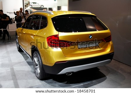 PARIS, FRANCE - OCTOBER 02: Paris Motor Show on October 02, 2008, showing BMW Concept X1, rear view - stock photo