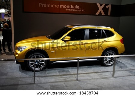 PARIS, FRANCE - OCTOBER 02: Paris Motor Show on October 02, 2008, showing BMW Concept X1, side view - stock photo