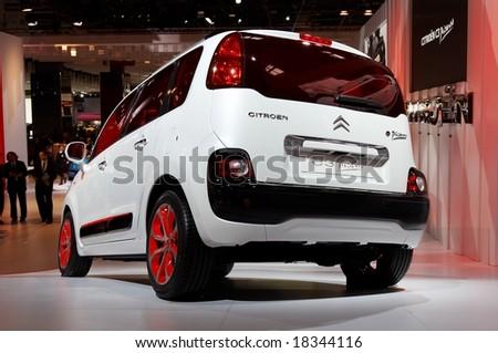 PARIS, FRANCE - OCTOBER 02: Paris Motor Show  on October 02, 2008, showing Citroen C3 Picasso, rear view. - stock photo
