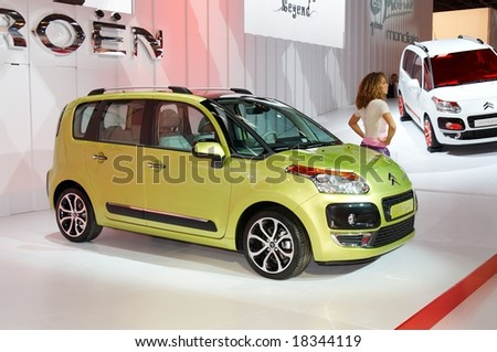 PARIS, FRANCE - OCTOBER 02: Paris Motor Show  on October 02, 2008, showing Citroen C3 Picasso, side view. - stock photo