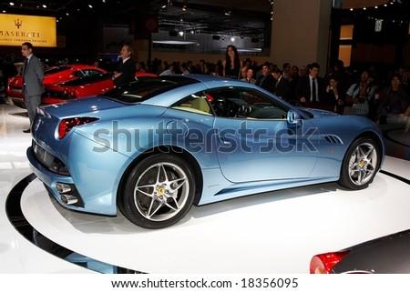 PARIS, FRANCE - OCTOBER 02: Paris Motor Show  on October 02, 2008, showing Ferrari California, rear-side view. - stock photo