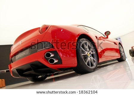 PARIS, FRANCE - OCTOBER 02: Paris Motor Show on October 02, 2008, showing Ferrari California, rear view - stock photo