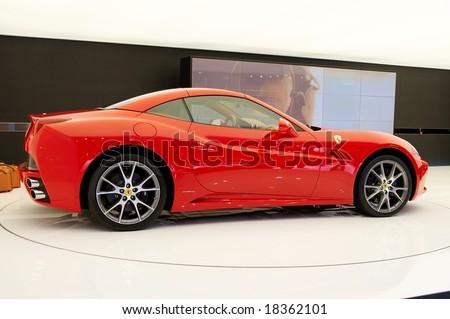 PARIS, FRANCE - OCTOBER 02: Paris Motor Show on October 02, 2008, showing Ferrari California, side view - stock photo