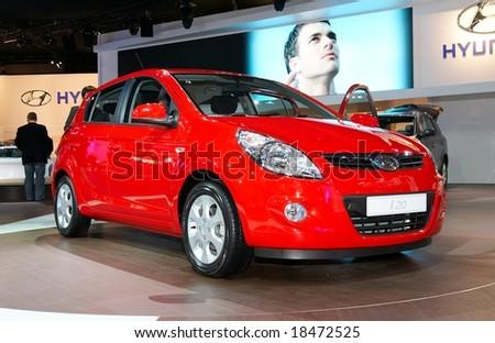 PARIS, FRANCE - OCTOBER 02: Paris Motor Show on October 02, 2008, showing Hyundai i20, front view - stock photo