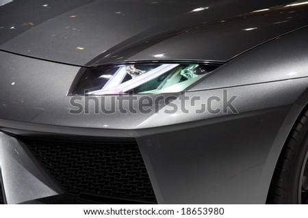 PARIS, FRANCE - OCTOBER 02: Paris Motor Show on October 02, 2008, showing Lamborghini Estoque Concept, front light detail - stock photo