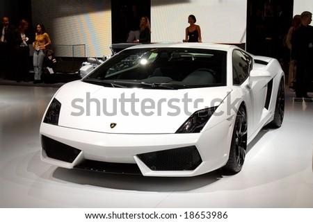 PARIS, FRANCE - OCTOBER 02: Paris Motor Show on October 02, 2008, showing Lamborghini Gallardo LP560/4, front view - stock photo