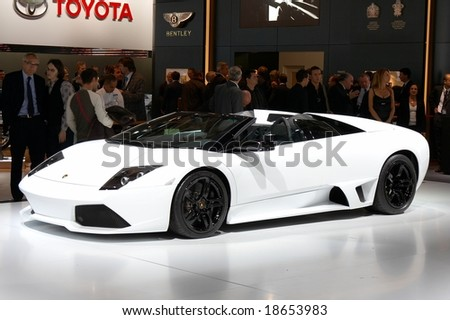 PARIS, FRANCE - OCTOBER 02: Paris Motor Show on October 02, 2008, showing Lamborghini Murcielago Roadster, front view - stock photo