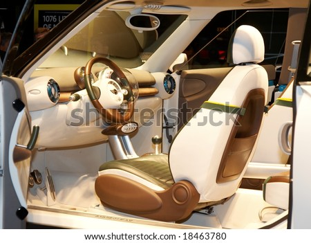 PARIS, FRANCE - OCTOBER 02: Paris Motor Show on October 02, 2008, showing MINI Concept Crossover, interior view - stock photo