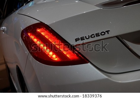 PARIS, FRANCE - OCTOBER 02: Paris Motor Show  on October 02, 2008, showing Peugeot 308 CC, taillight detail. - stock photo