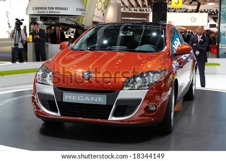 PARIS, FRANCE - OCTOBER 02: Paris Motor Show  on October 02, 2008, showing Renault Megane 3-door, front view. - stock photo