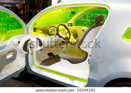PARIS, FRANCE - OCTOBER 02: Paris Motor Show  on October 02, 2008, showing Renault ZE Concept, interior view. - stock photo