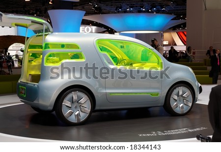 PARIS, FRANCE - OCTOBER 02: Paris Motor Show  on October 02, 2008, showing Renault ZE Concept, rear view. - stock photo