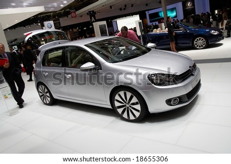 PARIS, FRANCE - OCTOBER 02: Paris Motor Show on October 02, 2008, showing Volkswagen Golf, front view