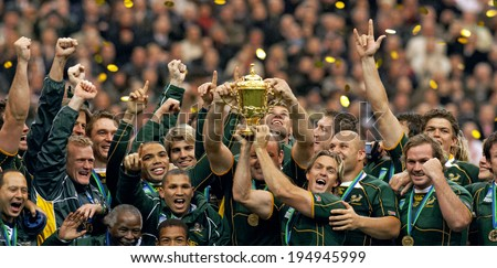 PARIS, FRANCE-OCTOBER 21, 2007:  south africa rugby players celebrate holding Web Ellis Cup, at the end of the final England vs South Africa, of the Rugby World Cup, France 2007, in Paris