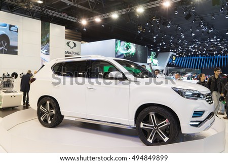 PARIS, FRANCE - OCTOBER 6, 2016: SsangYong's super-sized SUV: LIV-2 concept is unveiled at Paris Motor Show. It is thought to preview a 2017 replacement for the Rexton.
