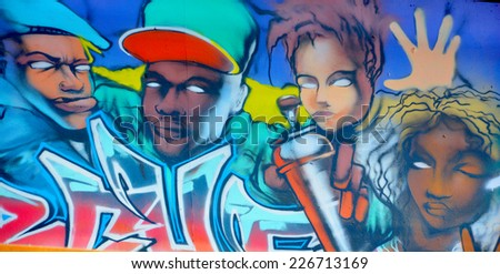 PARIS FRANCE OCTOBER 19: Street art black people Paris France october 19 2014. Paris is the perfect place to walk in the back alleys and abandoned areas, looking for fresh air and street art.