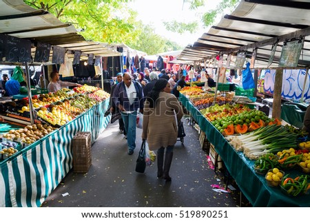 Paris food market stock images royalty free images for Outdoor food market