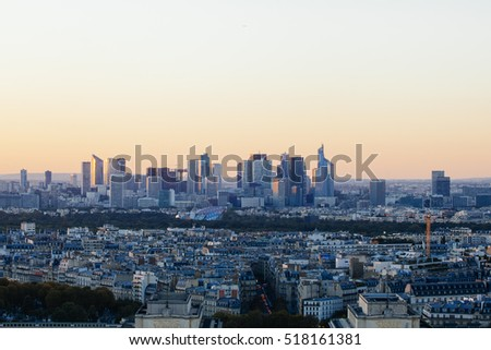 Paris, France - October 5, 2016: Sunset view from Eiffel tower to la Defence area in Paris as seen on 5 of October, 2016