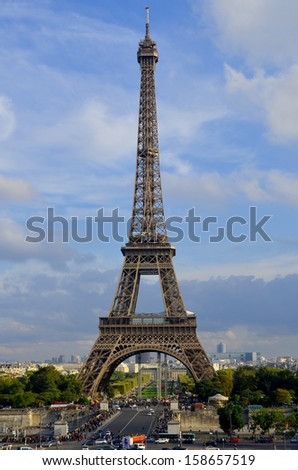 PARIS, FRANCE OCTOBER 14: the Eiffel Tower (Tour Eiffel) on october 14, 2013 in Paris, France. It was built between 1887 and 1889 for the World's Fair (Expo 1889).