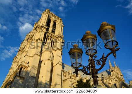 PARIS, FRANCE - OCTOBER 12: The Notre Dame cathedral of Paris, France, on october 12, 2013, one of the most famous landmarks in Paris. In 2014, the cathedral celebrate its 850 years anniversary. - stock photo