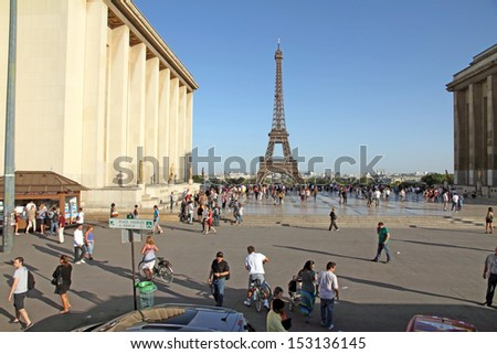 PARIS, FRANCE-OCTOBER, 9:With 7 million visitors in 2011, the Eiffel Tower is also the most visited paid monument in the world on October 9, 2012 in Paris. View from Trocadero. - stock photo
