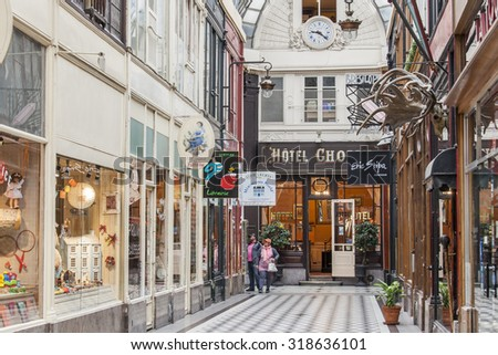 PARIS, FRANCE, on AUGUST 27, 2015. Fragment of an interior of a typical Parisian passage