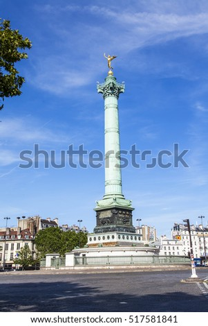 PARIS, FRANCE, on JULY 9, 2016. A monument at Bastille Square