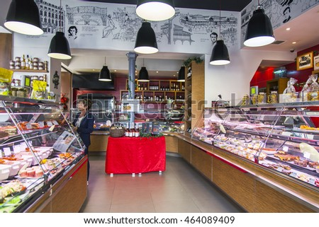 PARIS, FRANCE, on JULY 7, 2016. Typical interior of shop of a gastronomy