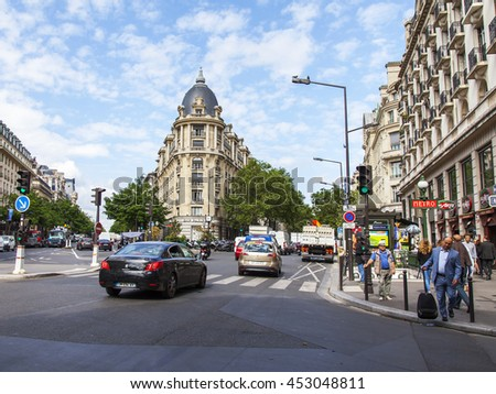 PARIS, FRANCE, on JULY 12, 2016. Typical urban view. Grande Boulevards