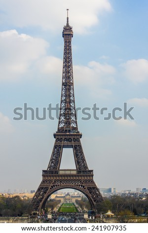 Paris, France, on March 27, 2011. A city landscape with the Eiffel Tower. The Eiffel Tower is one of the most recognizable sights of Paris