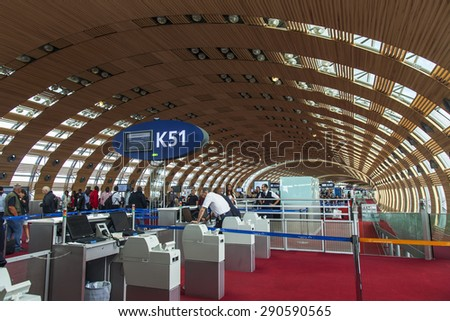 PARIS, FRANCE - on MAY 5, 2015. The international airport Charles de Gaulle, the hall of a departure in the terminal E