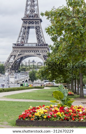 PARIS, FRANCE, on SEPTEMBER 1, 2015. A view of the Eiffel Tower and Iena Bridge. The Eiffel Tower is one of the most visited and recognizable sights of the world - stock photo