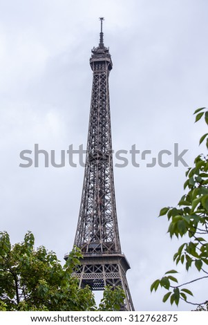 PARIS, FRANCE, on SEPTEMBER 1, 2015. View of the Eiffel Tower. The Eiffel Tower is one of the most visited and recognizable sights of the world - stock photo