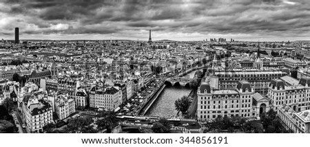Paris, France panorama with Eiffel Tower, Seine river and bridges. As seen from Notre Dame. Black and white - stock photo