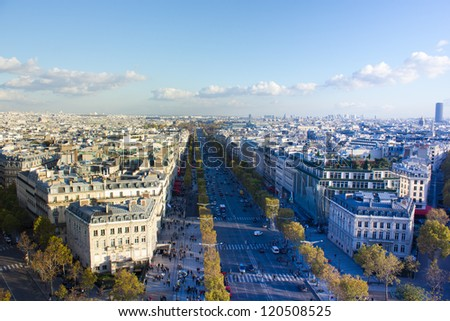 Paris, France, panoramic aerial view of Avenue des Champs-Elysees from Arc de Triomphe - stock photo