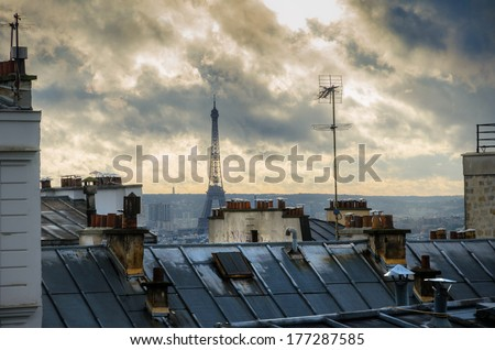 Paris. France. Roofs of Montmartre. View on Eiffel Tower. - stock photo