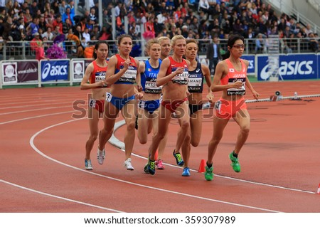 PARIS, FRANCE - SEP.13: Athletes compete in the 1500 meters race on DecaNation International Outdoor Games on September 13, 2015 in Paris, France .