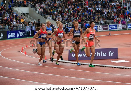 PARIS, FRANCE - SEP.13: Athletes compete in the 1500 meters race on DecaNation International Outdoor Games on September 13, 2015 in Paris, France.