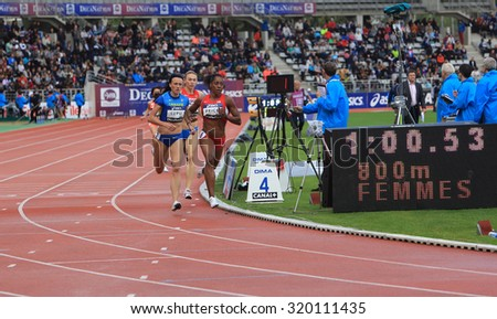 PARIS, FRANCE - SEP.13: Nataliya Lupu, Yevgeniya Subbotina and Chanelle Price on the 800 meters race on DecaNation International Outdoor Games on September 13, 2015 in Paris, France.