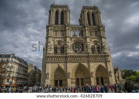 PARIS, FRANCE - SEP 25, 2015 : Notre-Dame de is a medieval Catholic cathedral. It is widely considered to be one of the finest examples of French Gothic architecture.
