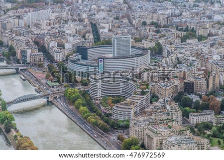 PARIS, FRANCE - SEPTEMBER, 2015: Aerial View on Paris from the Eiffel tower.