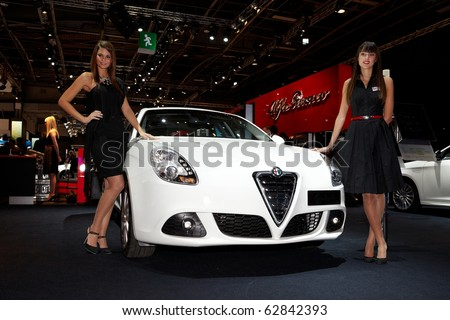 PARIS, FRANCE - SEPTEMBER 30: Alfa Romeo Giulietta at Paris Motor Show on September 30, 2010 in Paris