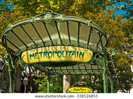 PARIS, FRANCE - 09 SEPTEMBER, 2014:Art Nouveau entrance to Paris Metro subway in Paris, France on 9 September, 2014.  - stock photo