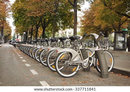 Paris, France - September 5, 2014: Bicycle parking on the Paris street