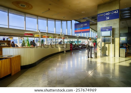 PARIS, FRANCE - SEPTEMBER 10, 2014: Charles de Gaulle Airport interior. Paris Charles de Gaulle Airport, also known as Roissy Airport, is one of the world's principal aviation centres - stock photo