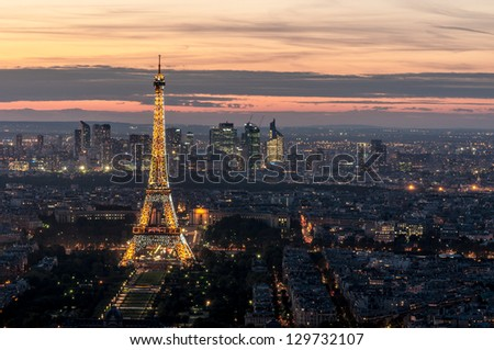 PARIS, FRANCE - SEPTEMBER 29: Eiffel Tower on September 29, 2012 in Paris. It was erected in 1889 and has become both a global cultural icon of France and the world.
