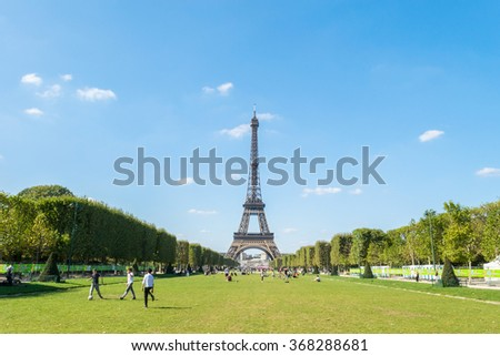 Paris, France â?? September 9, 2015: Eiffel Tower Paris, people playing football