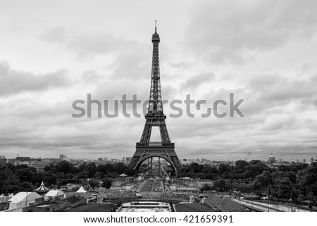 PARIS, FRANCE - SEPTEMBER 2013: Eiffel Tower view on September 13, 2013 in Paris. It is the most-visited paid monument in the world with annual 250M visitors. - stock photo
